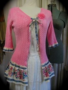 Pink Shabby Sweater, frayed upcycled clothing, refashioned altered tattered ruffled hem MEDIUM
