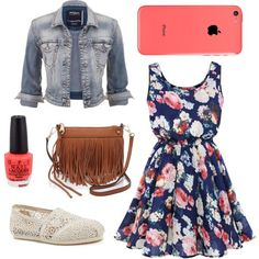 Wow. This is like a fashionable version of my clothes. Wanna see my outfit? Just replace the jean jacket with a grandma cardigan, the purse with a DIY jean bag, the shoes with purple high tops, and the dress with a slightly outdated Goodwill version.