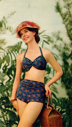 "The bikini or two-piece suit became popular after showing it in a musical called ""Beach Party"" The top less conservative than the past decades and usually halter tops. The bottom is more conservative with the hips covered fully. Retro Swimwear, Vintage Swimsuits, Vintage Bikini, Foto Fashion, Fashion History, 60s And 70s Fashion, Vintage Fashion, Vintage Outfits, Bathing Costumes"