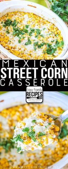 LOVE THS Our FAVORITE Mexican Street Corn Casserole Easy side dish for dinner potluck or neighborhood BBQ easyfamilyrecipes sidedish corn easyrecipe sides Potluck Dishes, Dinner Dishes, Food Dishes, Easy Dishes For Potluck, Cookout Side Dishes, Food For Potluck, Recipes For Potluck, Potluck Meals, Party Side Dishes