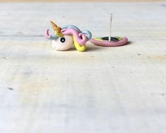 Cute Rainbow Unicorn Stud Earrings // Cute Asymmetrical | Etsy Cute Rainbow Unicorn, Different Shapes, Sculpting, Polymer Clay, Handmade Jewelry, Stud Earrings, Crafts, Etsy, Art