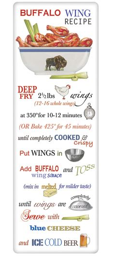 Buffalo Chicken Wings Recipe 100% Cotton Flour Sack Dish Towel Tea Towel