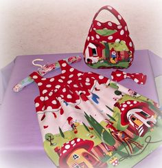 Toadstool Dress, Bag, and Bow - The Supermums Craft Fair Little Girl Dresses, Girls Dresses, Fairy Room, Dolly Dress, Gnome Hat, Never Grow Up, Woodland Party, Little Miss