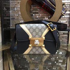 cb7d4bb7550 GG new style mini Padlock GG Supreme and leather black shoulder bag 477622