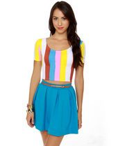 Motel Tabbi Striped Crop Top