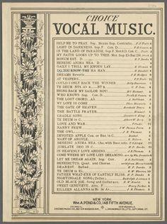 "Beautiful daisy border ""Choice vocal music"" ~ 1893"