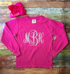 Hey, I found this really awesome Etsy listing at https://www.etsy.com/listing/221694008/monogram-long-sleeve-tee-shirt-with