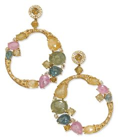 Cellini Jewelers Sapphire and Diamond Pendant Hoop Earrings  Rose-cut sapphires and fancy color diamonds, with white diamond accents, in 18-karat yellow gold