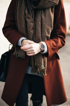 Ideas for Fall capsule wardrobe. Burnt orange peacoat and plaid scarf.