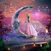 Digital Background with big moon and lanterns on the beach - Digital Backgrounds and Fine Art - Fairy Magic Chest Unicorn Pictures, Mermaid Pictures, Fairy Pictures, Big Moon, Good Night Moon, Digital Backgrounds, Digital Backdrops, Fairy Art, Moon Art