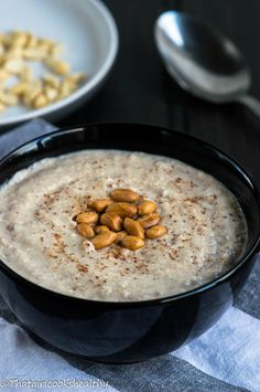 Jamaican peanut porridge - a creamy protein based breakfast made with coconut milk, coconut condensed milk and gluten free oats.