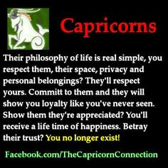 "This is particularly accurate about me. If I feel betrayed, I have the uncanny ability to erase anyone from my heart, mind and soul within a ""nano second. it's an automatic response. Capricorn Aquarius Cusp, All About Capricorn, Capricorn Quotes, Zodiac Signs Capricorn, Capricorn And Aquarius, Horoscope Signs, My Zodiac Sign, Astrology Zodiac, Astrology Signs"