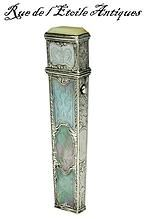 Fabulous 18th C French Silver Mother of Pearl Needle Case, Etui