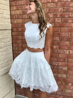 Elegant White Lace Two Piece Prom Dress, Short Homecoming Dress -You can find Lace and more on our website.Elegant White Lace Two Piece Prom Dress, Short Homecoming Dress - Two Piece Homecoming Dress, Lace Homecoming Dresses, Hoco Dresses, Prom Party Dresses, Cute Dresses, Evening Dresses, Sexy Dresses, Wedding Dresses, Summer Dresses