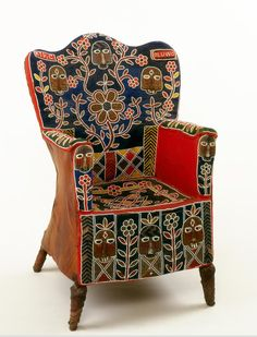 Africa | Leather covered chair embroidered with glass beads by the Yoruba people of Nigeria | Leather, cloth, beads, wicker, thread and nails.