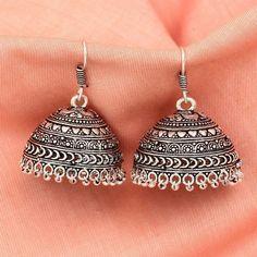 Silver Oxidised Ethnic Bollywood Indian Earrings Fashion Jhumka/Jhumki #DesaiJewellers #DropDangle