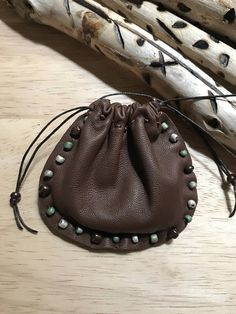 Leather Hand Beaded Pouch Bag  Native American Spirit Bag