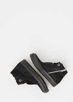 Rick Owens Blistered Leather Island Dunk Sneaker (Black)