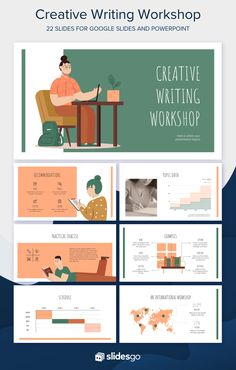 Attract new students for a creative writing workshop using this free presentation template for education Presentation Design Template, Ppt Design, Presentation Layout, Slide Design, Kids Graphic Design, Booklet Design, Design Layouts, Presentation Slides, Design Posters