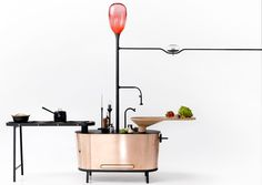 Philips Eco-Friendly Microbial Home:  Methane Bio-Digester Kitchen Island generates energy use in cooking and heating.