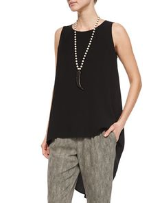 Sleeveless High-Low Silk Crepe Tunic, Women\'s  by Eileen Fisher at Neiman Marcus.