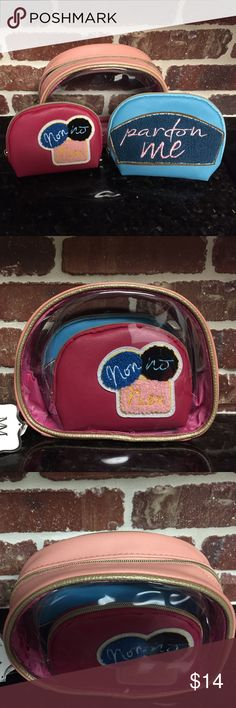 NWT Mirror Mirror Cosmetic Bags (3) 3 bags. The first is the largest and it is clear with peach borders and a gold zipper. The second bag is blue with gold zipper. The third is hot pink with gold zipper. Mirror Mirror Bags Cosmetic Bags & Cases