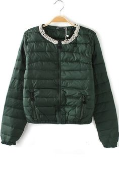 Green Plain Beading Zipper Thick Eiderdown Down Coat