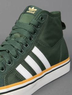ADIDAS Nizza green high top sneakers with signature three stripes at sides - Green Bay Packers Colors ~ Ash