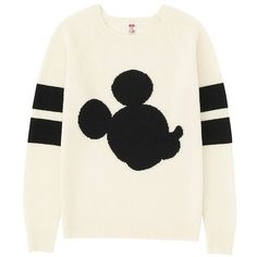 UNIQLO DISNEY PROJECT Lambs Wool Sweater found on Polyvore featuring tops, sweaters, shirts, disney, white wool shirt, uniqlo shirt, woolen sweaters, woolen shirts and wool sweater