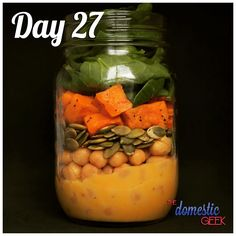 Day 27 - Sweet & Spicy Chickpea Salad   2 tbsp spicy honey mustard dressing ½ cup chickpeas ¼ cup pumpkin seeds ½ cup sweet potatoes, roasted 1 cup baby spinach