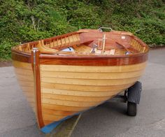 Fowey River Class Dinghy, wooden clinker varnished 15 knockabout dinghy, repaired, restored, built, trial sail, second hand for sale   Woode...Bon