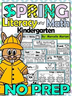 SPRING-Literacy and Math Fun- 75+ NO PREP PRINTABLES, WORKSHEETS FOR…