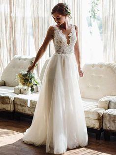 A-line Beach Wedding Dress Boho Bride Dress Plus Size Appliques With Tulle Wedding Gowns DM032