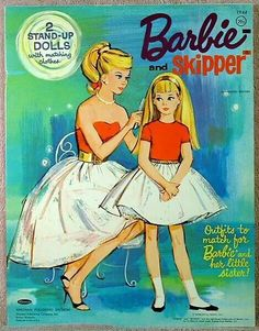 Barbie and Skipper paper dolls. I still have a skipper doll. Barbie Paper Dolls, Paper Dolls Book, Barbie Skipper, Vintage Paper Dolls, Vintage Barbie Dolls, Barbie And Ken, Barbie Box, Poses References, Barbie Collection