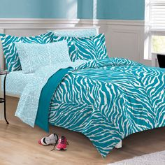 Turquoise and White Blue Zebra Print Bedding Set, Available in Different Sizes