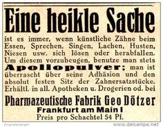 Original-Werbung/ Anzeige 1936 - APOLLOPULVER FÜR KÜNTLICHE ZÄHNE / DÖTZER - FRANKFURT a.M. - ca. 45 x 35 mm