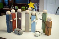 2x2 Wooden Nativity Set Full by BlockShop101 on Etsy, $50.00