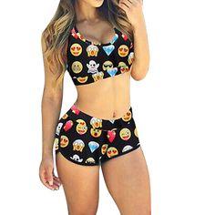 Sexy Women Emoji Multicolor Bikini Sports Swimwear Beachwear Bathing Fun Pattern Bathing Swimsuit Set XL ISP