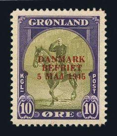 Greenland, Scott 22a-27a. 1945, Liberation Set, Scarcer Overprint Colors, Facit #22v2-27v2, n.h., Very Fine. Scott #22a-27a $2,900. Facit SKr 19,000. Estimate $950-1,250.