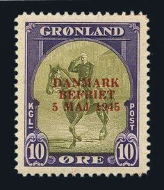 Greenland, Scott 22a-27a. 1945, Liberation Set, Scarcer Overprint Colors, Facit #22v2-27v2, n.h., Very Fine. Scott #22a-27a $2,900. Facit SKr 19,000. Estimate $950-1,250.