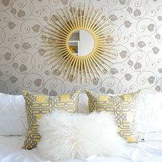 Bedroom Design Ideas... love the yellow pillows