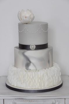 Grey marble wedding cake by Ruby & Belle Cakes - http://cakesdecor.com/cakes/276195-grey-marble-wedding-cake