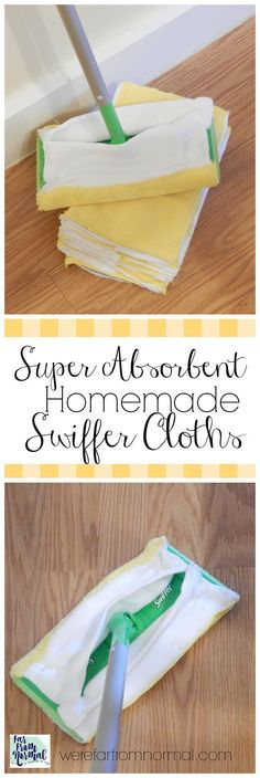 Is keeping your floor clean a challenge? Do you go through disposable floor cloths like crazy?? My homemade Swiffercloths get the job done and are reusable!  Use your favorite cleaner and have these on hand for any mess!