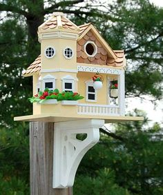 Home Bazaar Sea Cliff Cottage Bird House, Yellow at BestNest.com