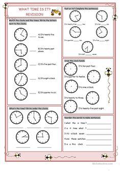 What Time Is It?(Revision) worksheet - Free ESL printable worksheets made by teachers English Teaching Materials, Teaching English, Teaching Spanish, French Language Learning, German Language, Japanese Language, Spanish Language, Printable Math Worksheets, Preschool Worksheets