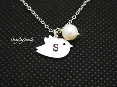 Personalized Flower Girl Necklace Bird  Initial by DanglingJewelry, $27.00