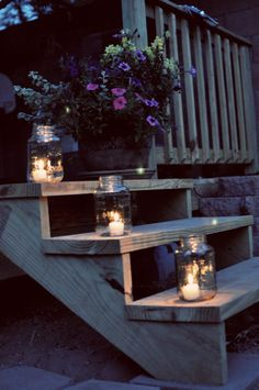 Backyard By Candlelight-reuse spaghetti sauce jars Candle Lanterns, Candle Jars, Mason Jars, Canning Jars, Candle Holders, Outdoor Spaces, Outdoor Living, Outdoor Decor, Twinkle Lights