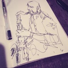 I'll definitely fill this #sketch in this weekend and pub it formally as it turned out too good not to. From last nights performance at Stritch #howardwiley was in the lineup. #saxophone #jazz #funky #dtsj #art #musician