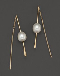 14K Yellow Gold & Freshwater Pearl Threader Earrings. like these.