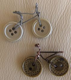 2 buttons are the wheels of a bicycle - instead of wire the rest could be embroidered
